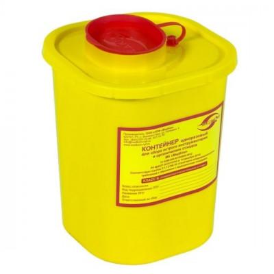 """Емкость-контейнер для сбора острого инструментария 1,5 л. Класс """"Б"""" (желтый)"""